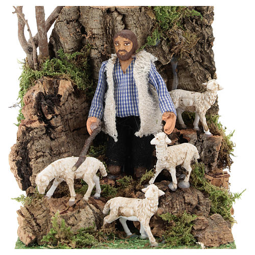 Moving figurine for Neapolitan Nativity scene, shepherd with sheep 8 cm 2