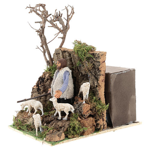 Moving figurine for Neapolitan Nativity scene, shepherd with sheep 8 cm 3