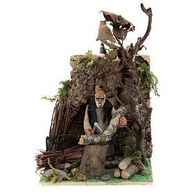 Presépio Napolitano: Homem que corta madeira com movimento para presépio napolitano com figuras de 8 cm  de altura média