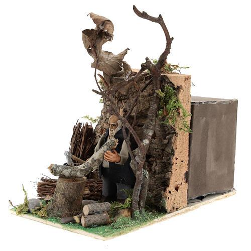 Homem que corta madeira com movimento para presépio napolitano com figuras de 8 cm  de altura média 2