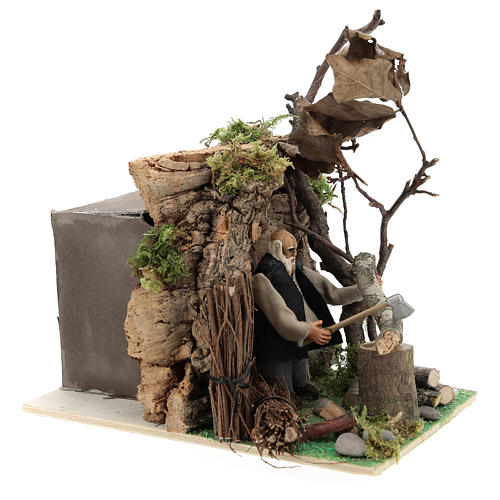 Homem que corta madeira com movimento para presépio napolitano com figuras de 8 cm  de altura média 3