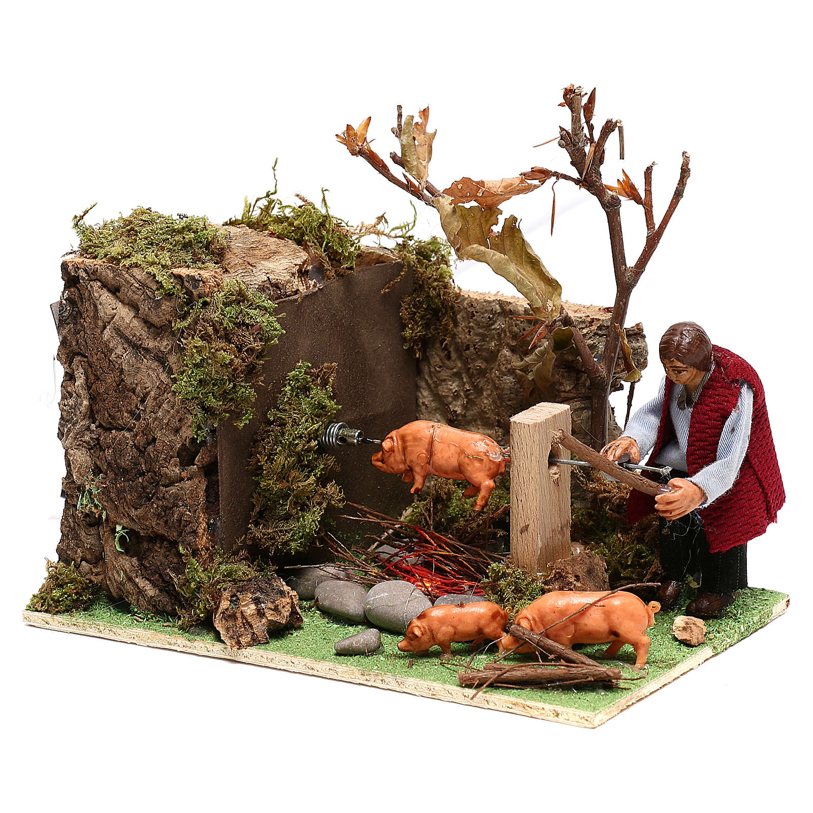 Moving man roasting a pig for Nativity Scene 8 cm 4