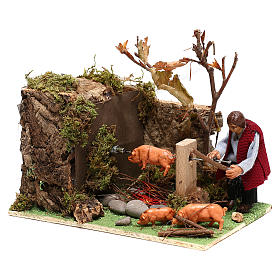 Moving man roasting a pig for Nativity Scene 8 cm s2