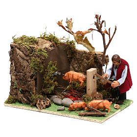 Moving man roasting a pig for Nativity Scene 8 cm s3