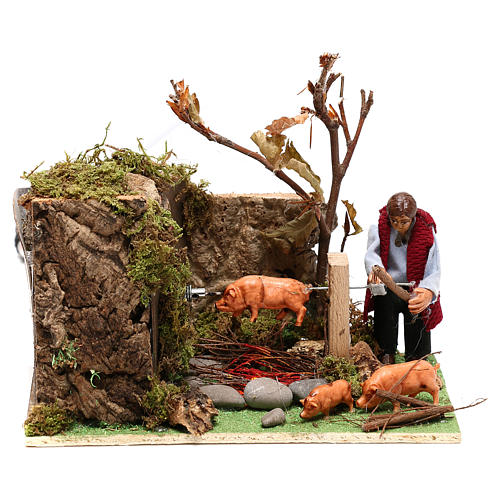 Moving man roasting a pig for Nativity Scene 8 cm 1