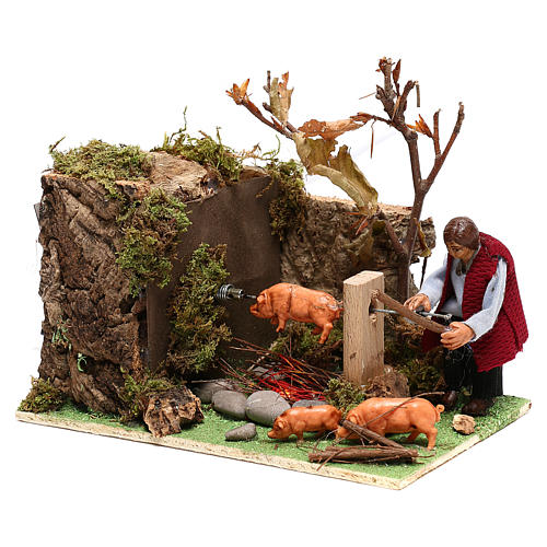 Moving man roasting a pig for Nativity Scene 8 cm 2