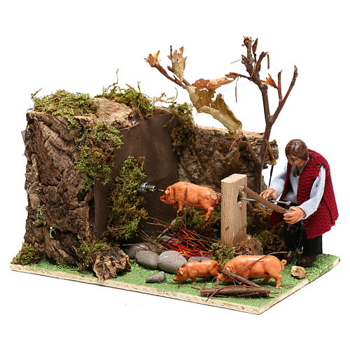Moving man roasting a pig for Nativity Scene 8 cm 3