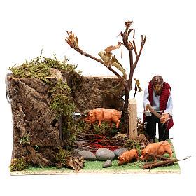 Man roasting pig, 8 cm animated Neapolitan nativity s1