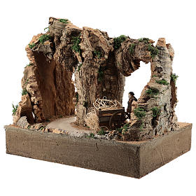 Moving man with cart for 10 cm Neapolitan Nativity scene s5