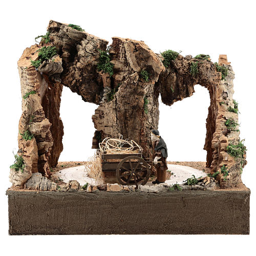 Moving man with cart for 10 cm Neapolitan Nativity scene 1
