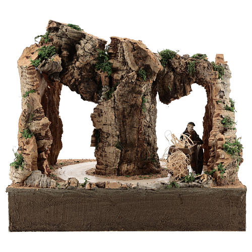 Moving man with cart for 10 cm Neapolitan Nativity scene 3