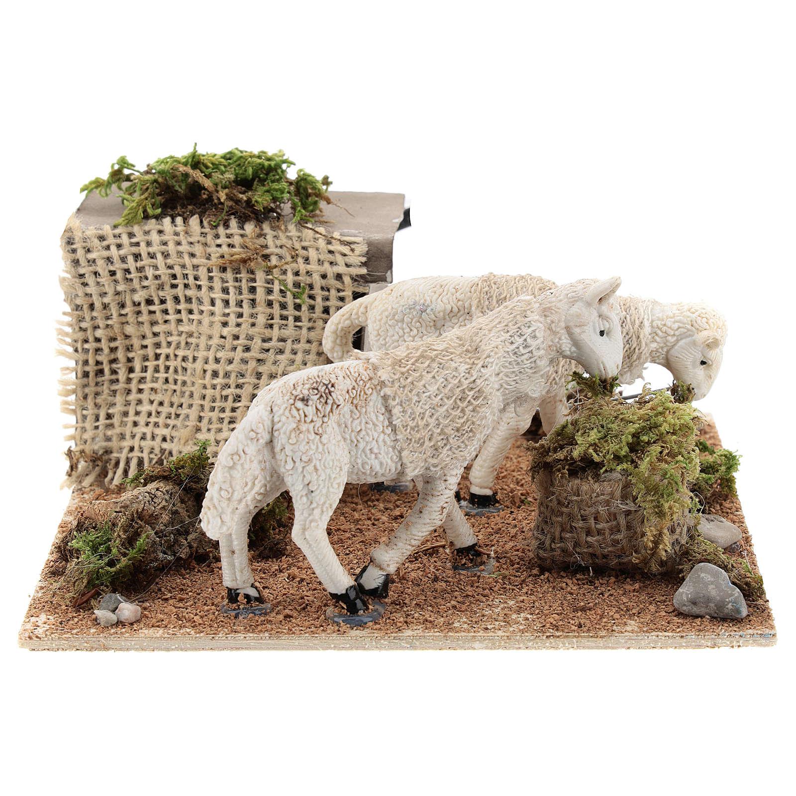 Moutons au pâturage mouvement pour crèche napolitaine de 6 cm 4