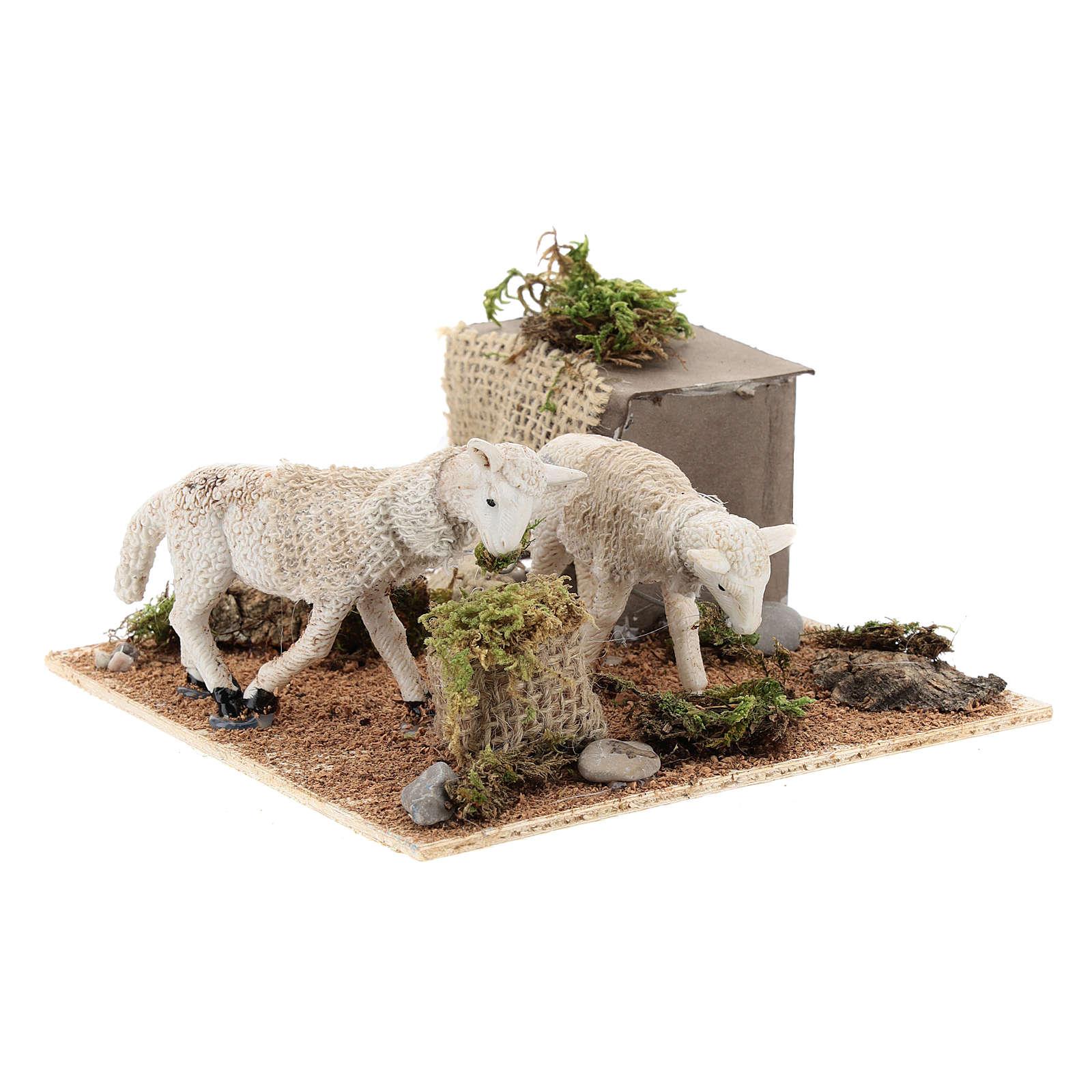 Pecore al pascolo movimento per presepe napoletano di 6 cm 4