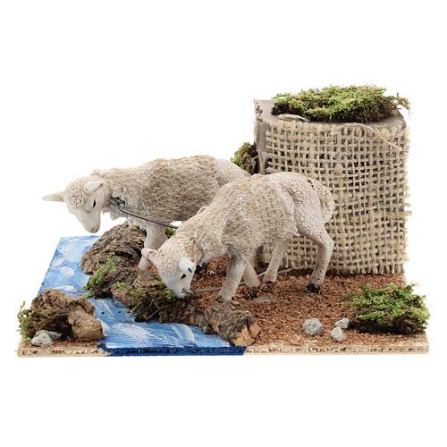 Moutons qui boivent au ruisseau mouvement crèche napolitaine 6 cm 1