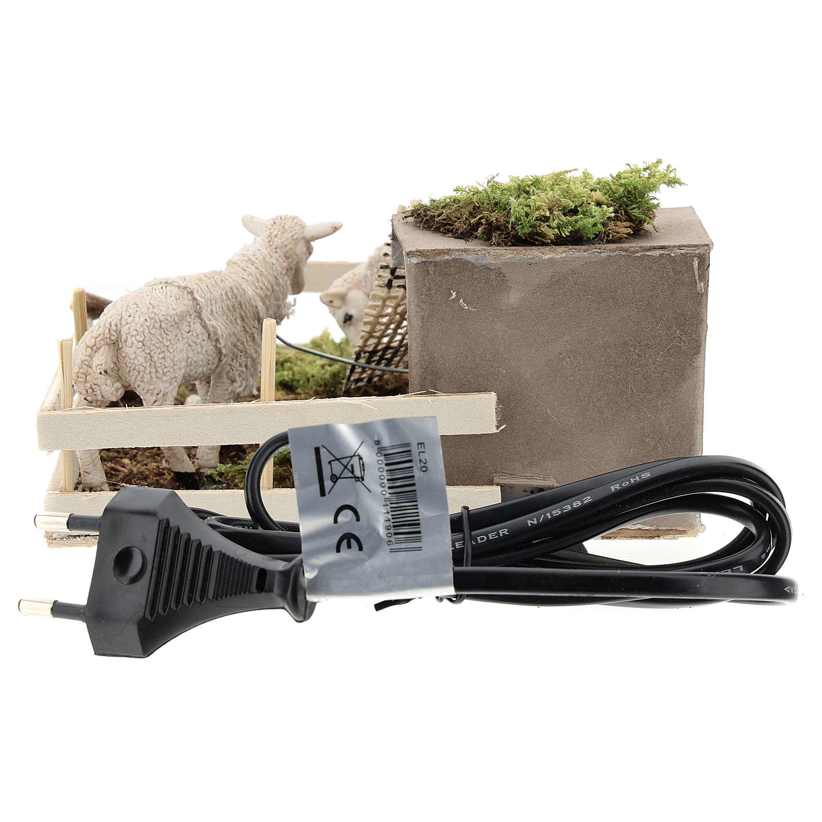 Moutons qui broutent dans un enclos mouvement crèche Naples 6 cm 4