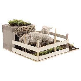 Moutons qui broutent dans un enclos mouvement crèche Naples 6 cm s3