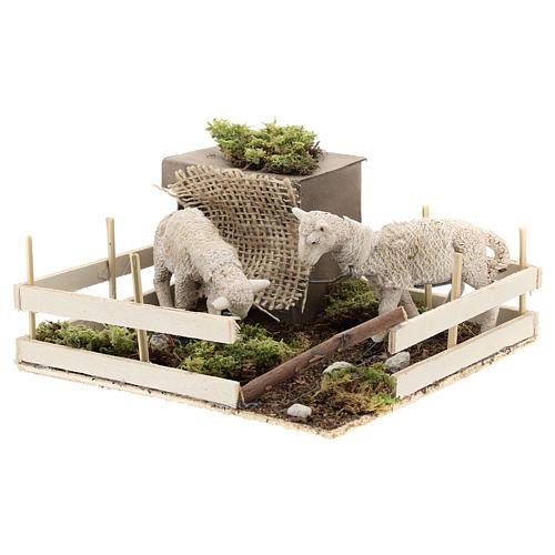 Moutons qui broutent dans un enclos mouvement crèche Naples 6 cm 2