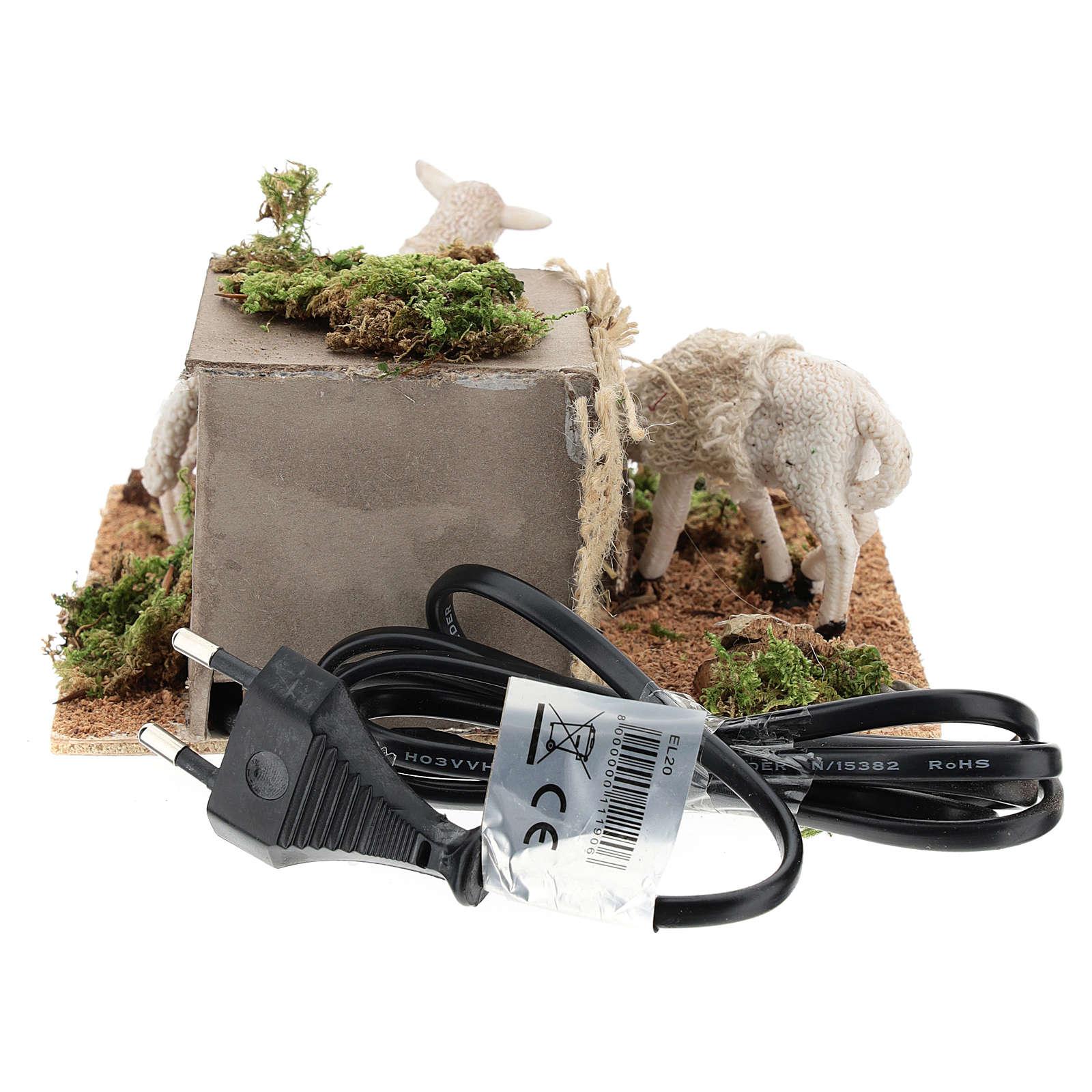 Pecore mangiano il fieno movimento presepe Napoli di 6 cm 4