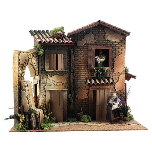 Nativity scene setting, house with 2 moving women 40x45x35 cm 1