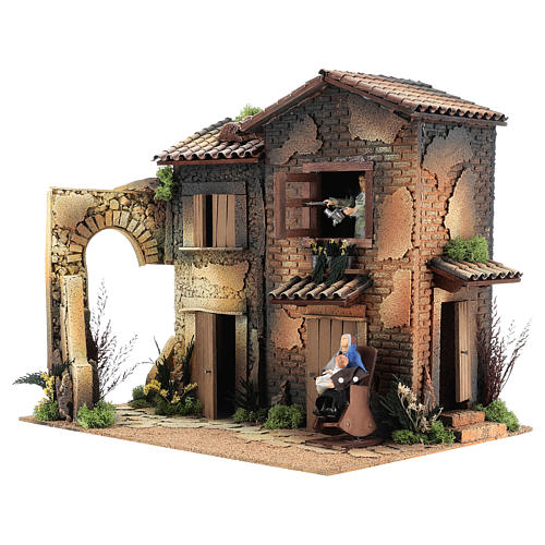 Nativity scene setting, house with 2 moving women 40x45x35 cm 3