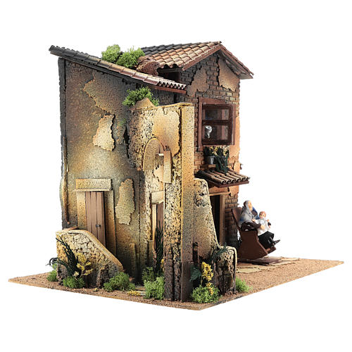 Nativity scene setting, house with 2 moving women 40x45x35 cm 4