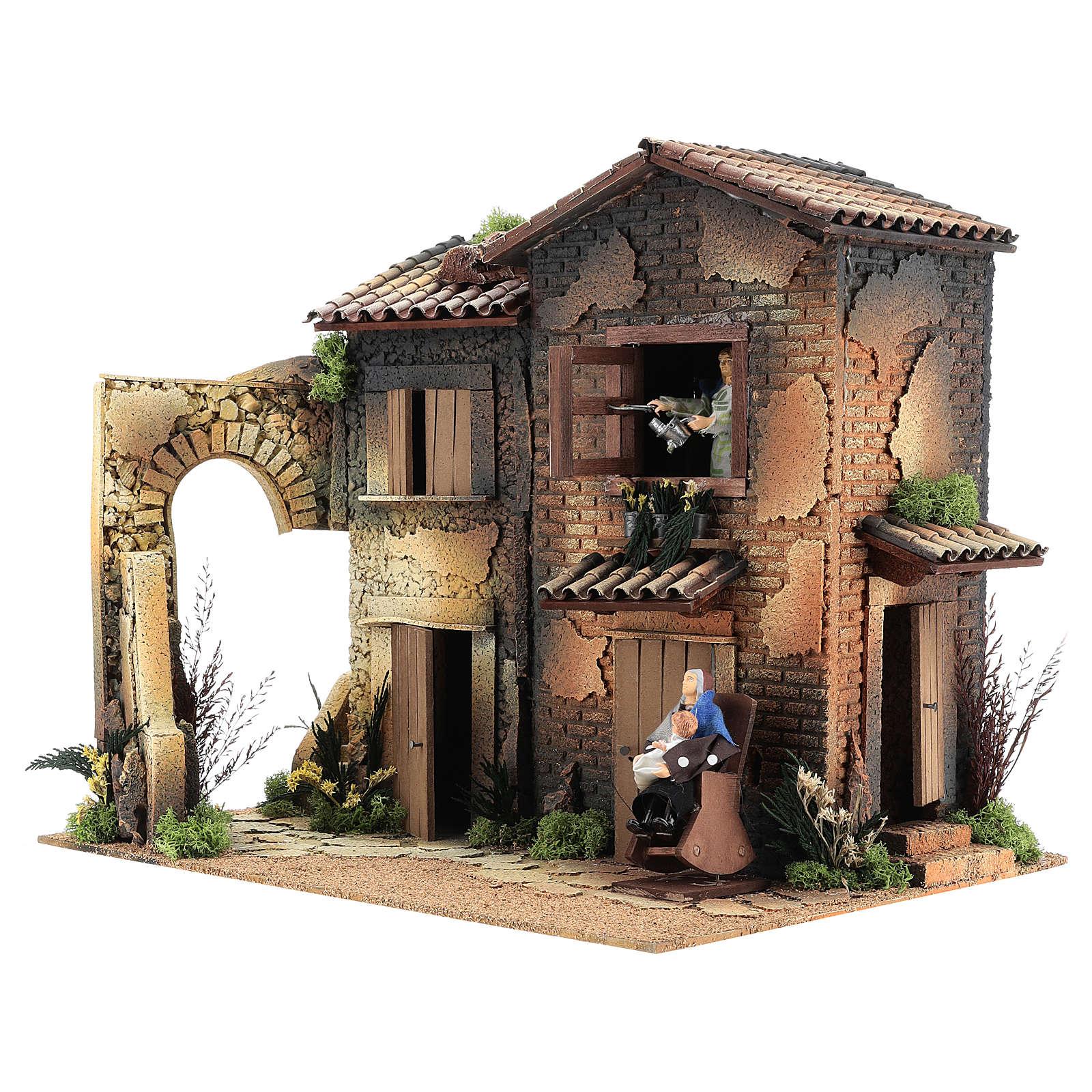 Borgo presepe con 2 donne in movimento di 40x45x35 cm 3