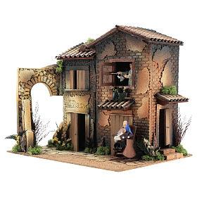 Borgo presepe con 2 donne in movimento di 40x45x35 cm s3