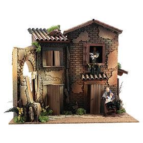 Figuras em Movimento para Presépio: Casa em miniatura para presépio com 2 mulheres em movimento 40x45x35 cm