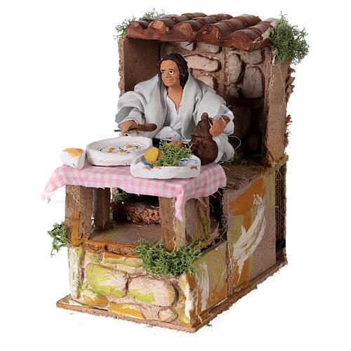 Man cooking, animated nativity figure 10 cm 2
