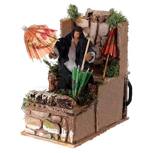 Umbrella maker, animated nativity figure 10 cm 2