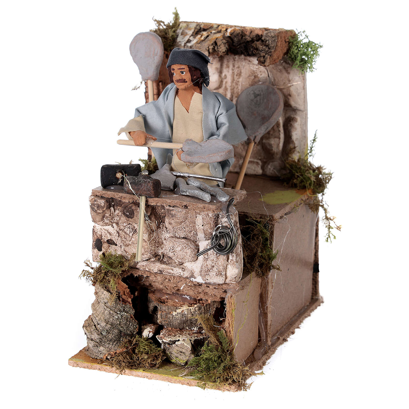 Blacksmith shepherd, animated nativity figure 10 cm 3