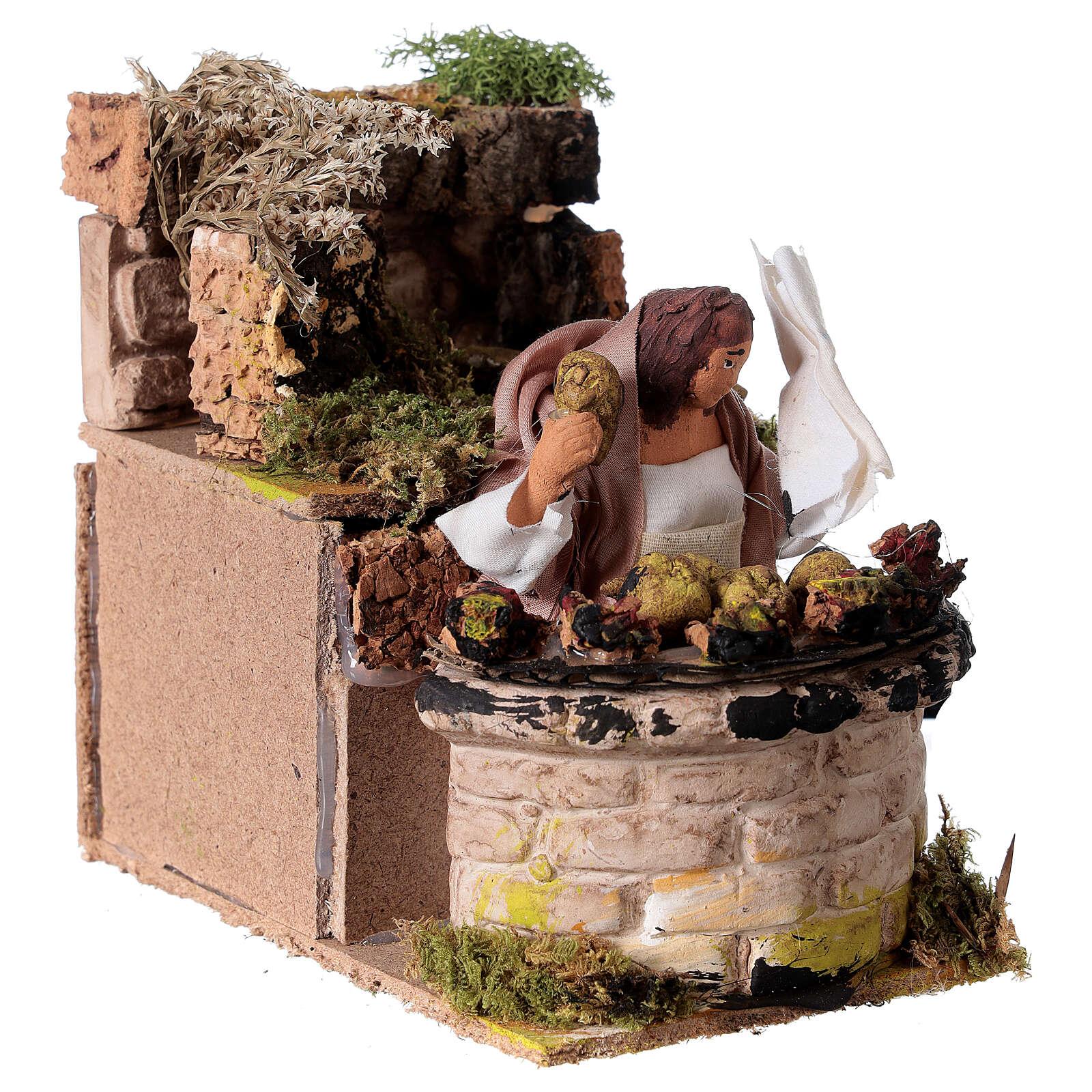 Woman cooking artichokes moving Nativity scene 10 cm 3