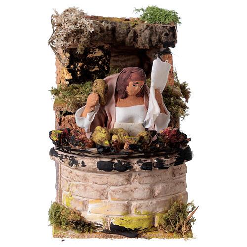 Woman cooking artichokes moving Nativity scene 10 cm 1