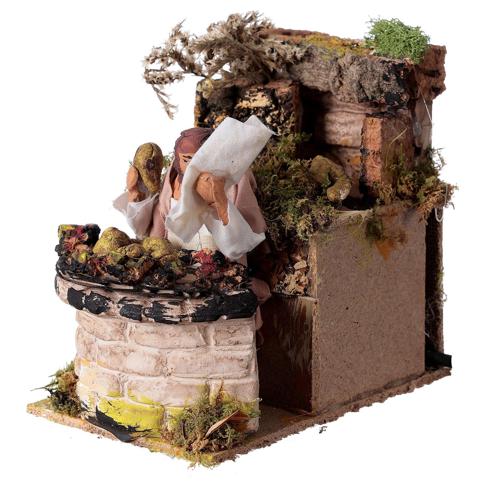 Woman cooking artichokes, animated nativity figure 10 cm 3