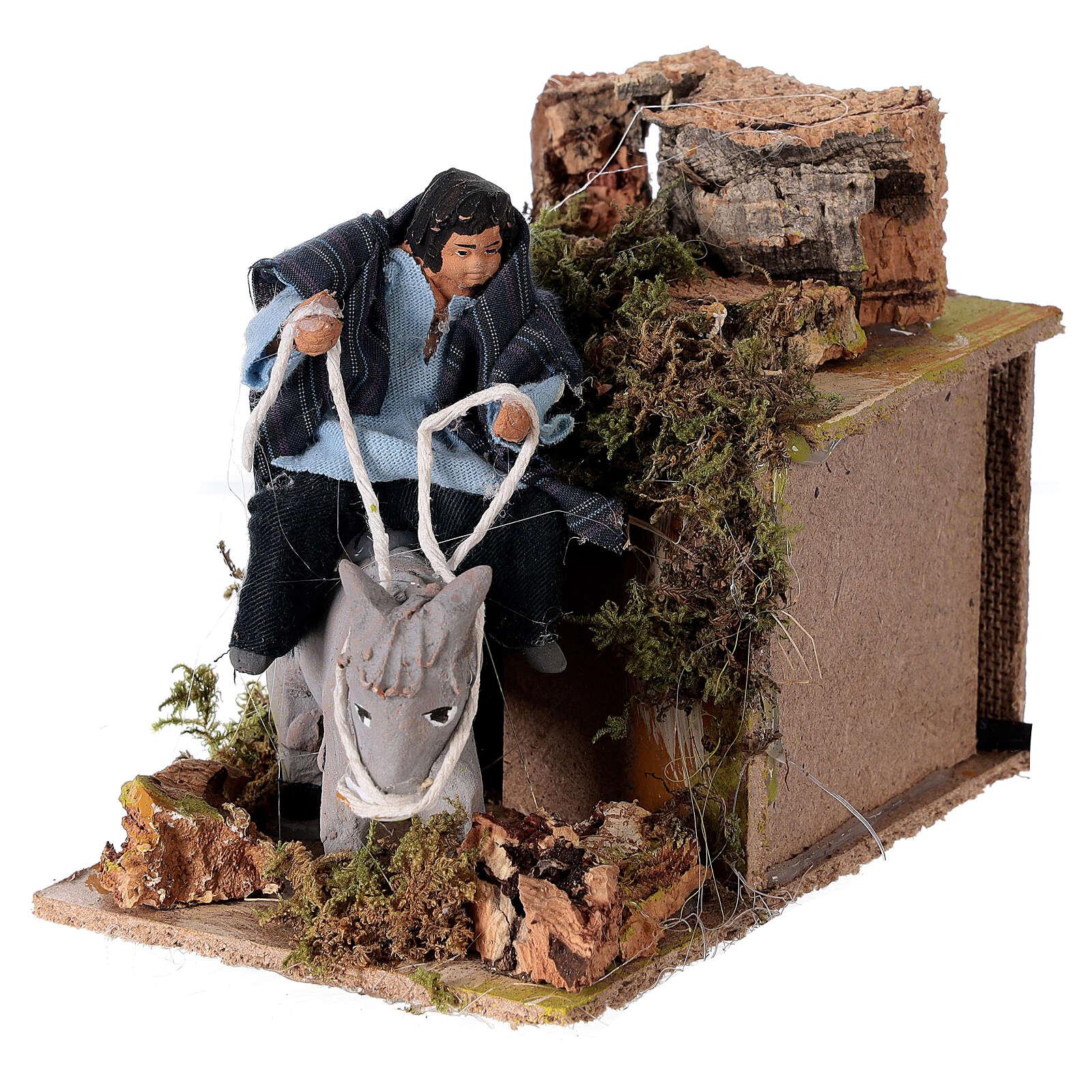 Child on donkey nativity scene 10 cm 3