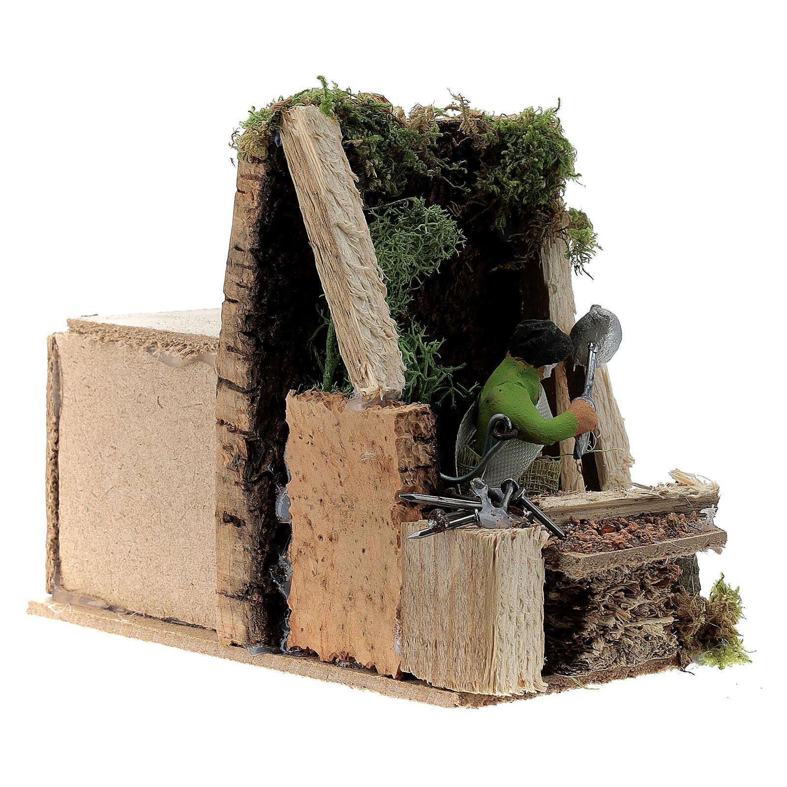 Zimmermann bewegte Krippenfigur aus Terrakotta, 4 cm 3