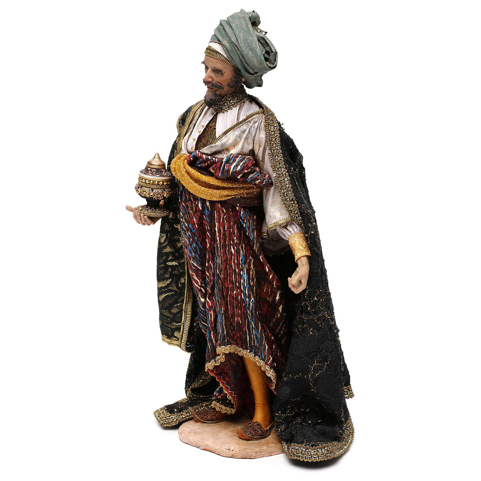 Roi Mage blanc crèche terre cuite Angela Tripi 30 cm 4