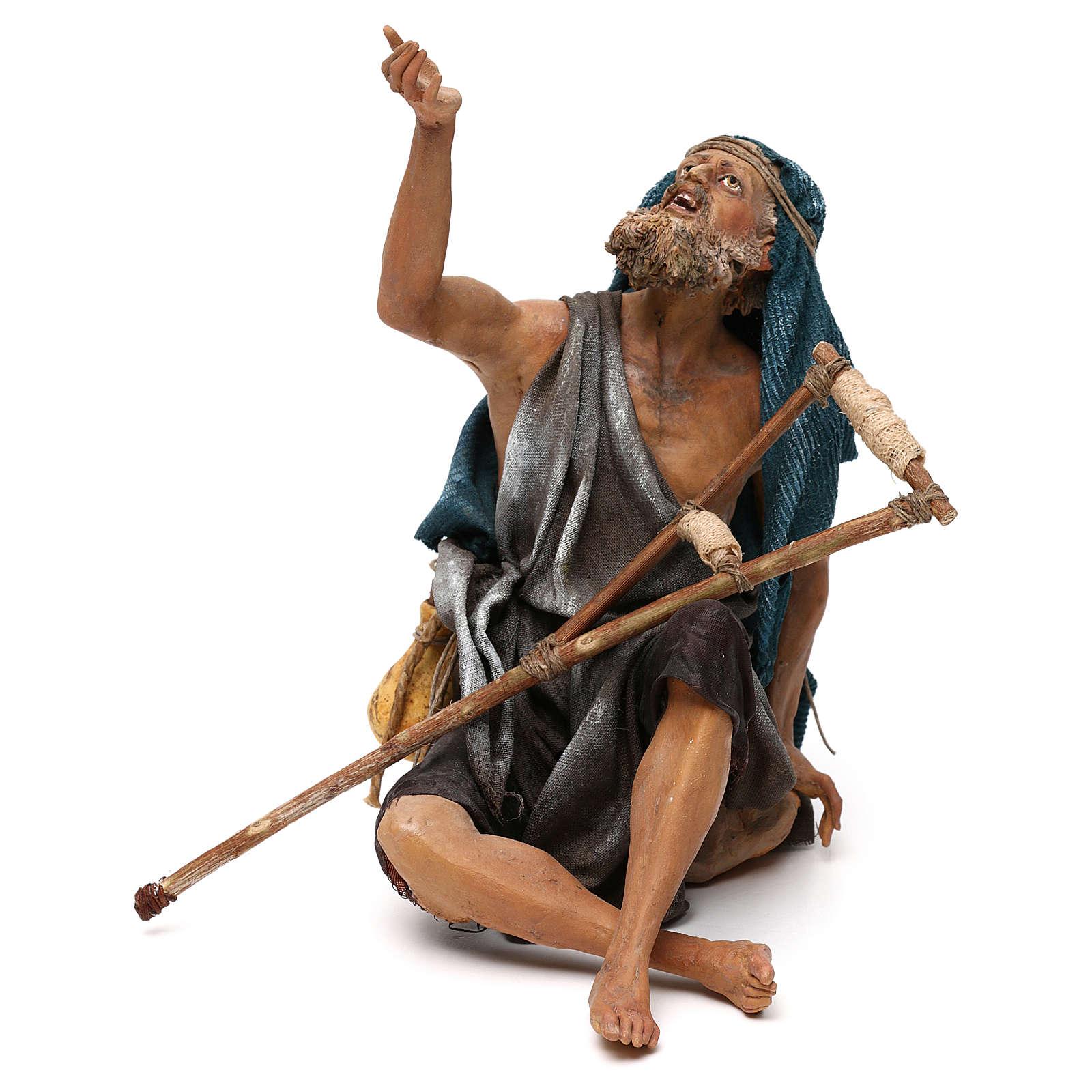 Nativity scene figurine, mendicant 30 cm, Angela Tripi 4