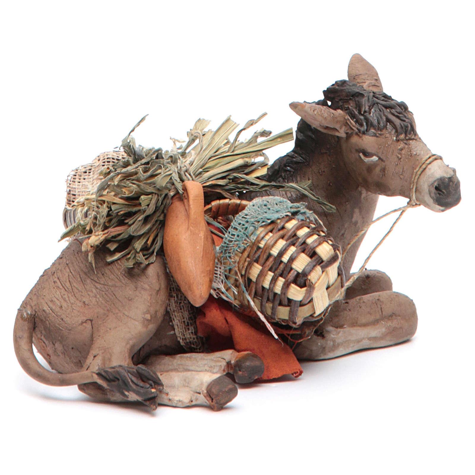 Nativity scene figurine, donkey 13cm terracotta, Angela Tripi 4