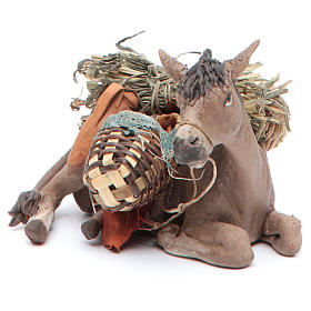 Nativity scene figurine, donkey 13cm terracotta, Angela Tripi s2