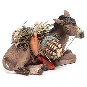 Nativity scene figurine, donkey 13cm terracotta, Angela Tripi s4