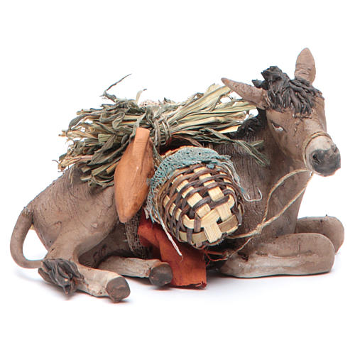 Nativity scene figurine, donkey 13cm terracotta, Angela Tripi 1