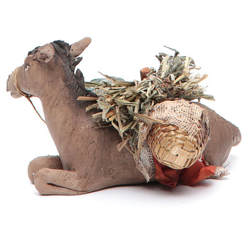 Nativity scene figurine, donkey 13cm terracotta, Angela Tripi 3