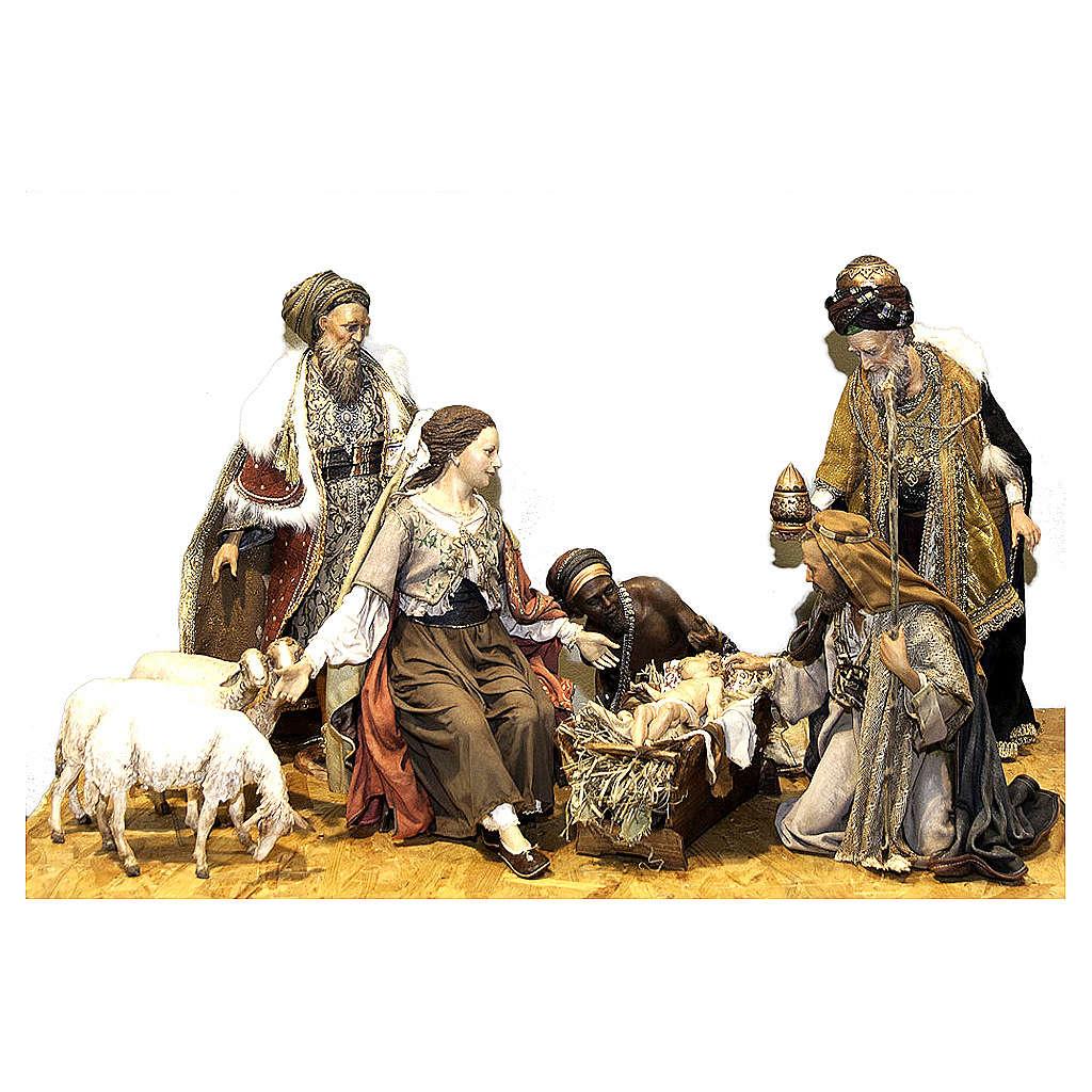 Nativité Rois Mages trois moutons 50 cm Angela Tripi 4