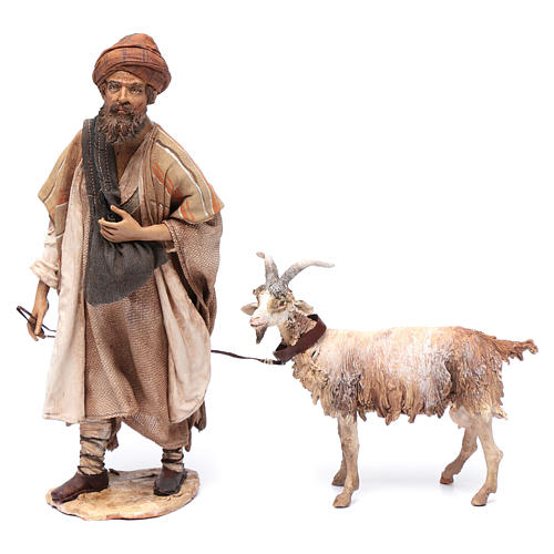 Shepherd with goat, 30cm made of Terracotta by Angela Tripi 1