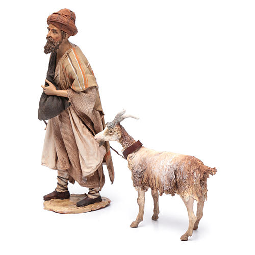 Shepherd with goat, 30cm made of Terracotta by Angela Tripi 2