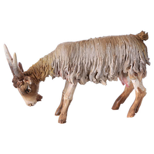 Cabra con cabeza baja Belén 13 cm Angela Tripi terracota 3