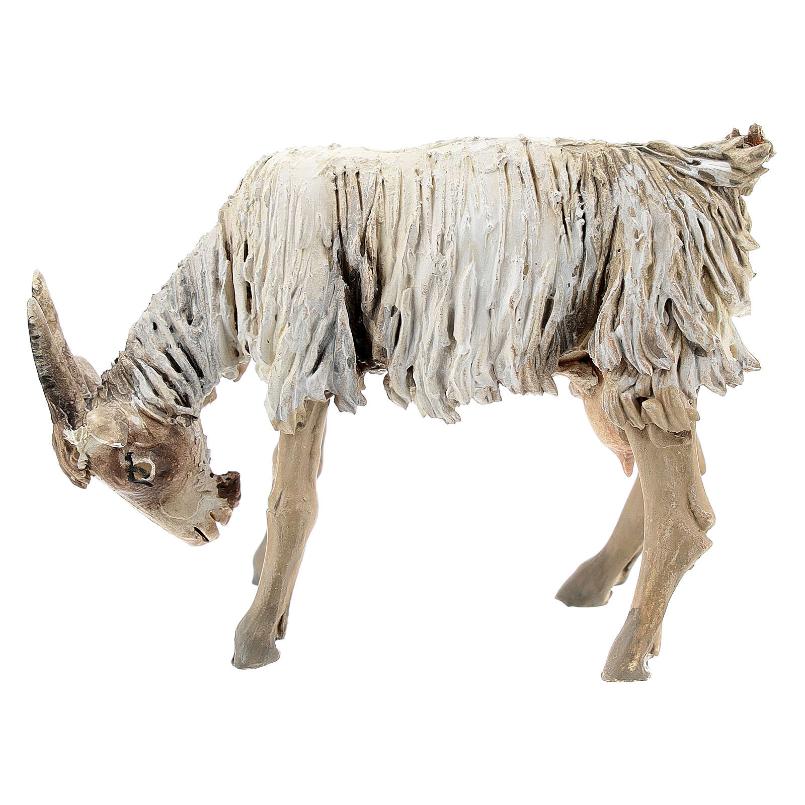Chèvre broutant 13cm crèche terre cuite Angela Tripi 4