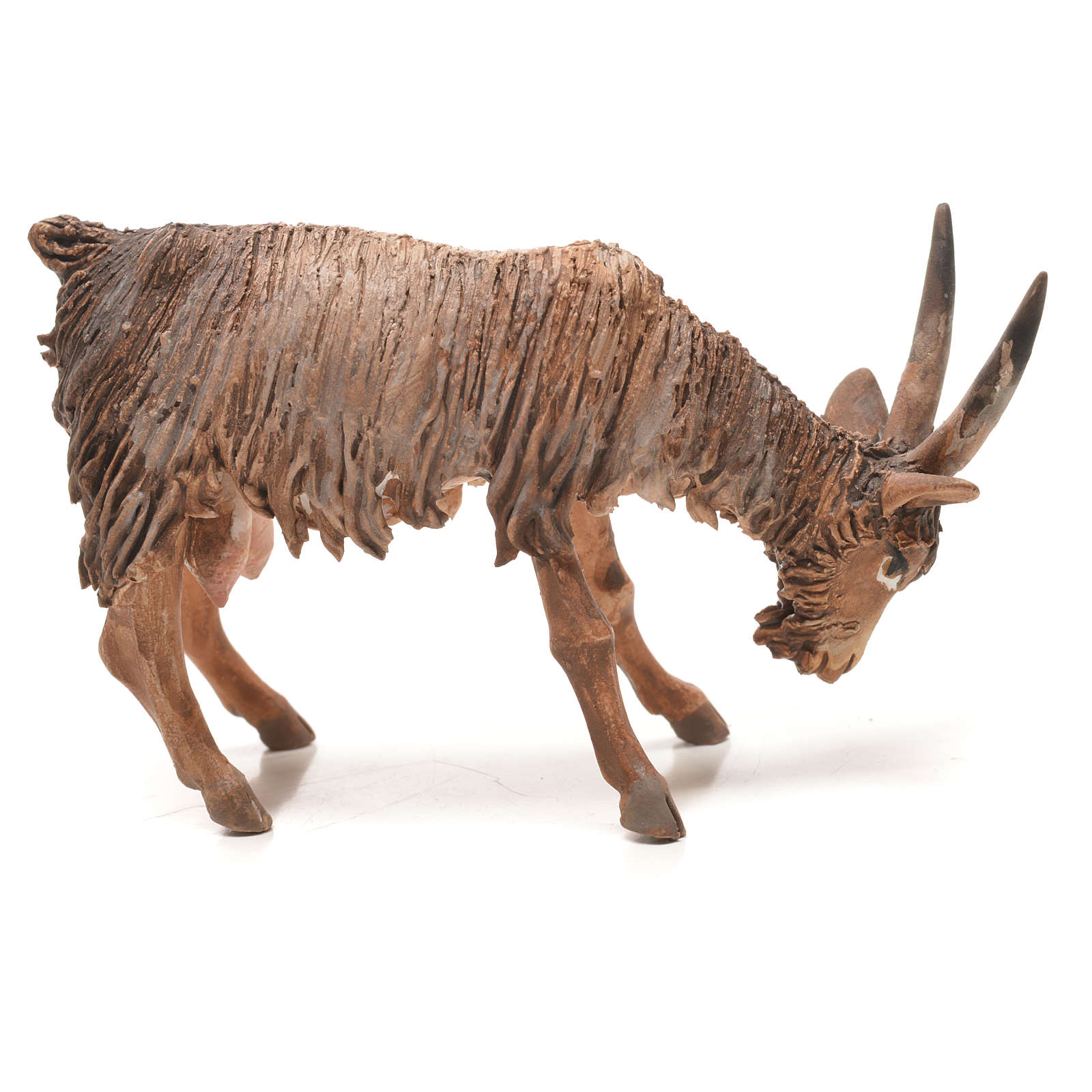 Goat with lowered head in terracotta 13cm Angela Tripi 4