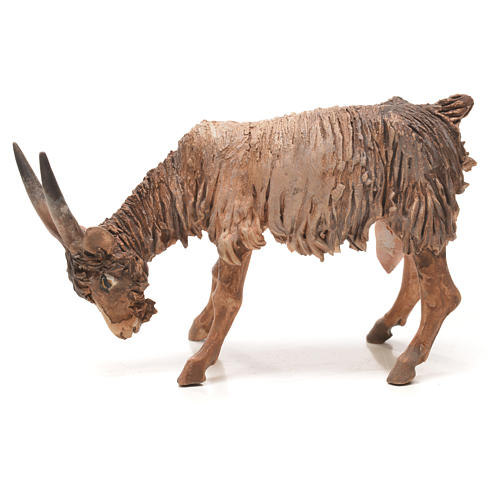 Goat with lowered head in terracotta 13cm Angela Tripi 1
